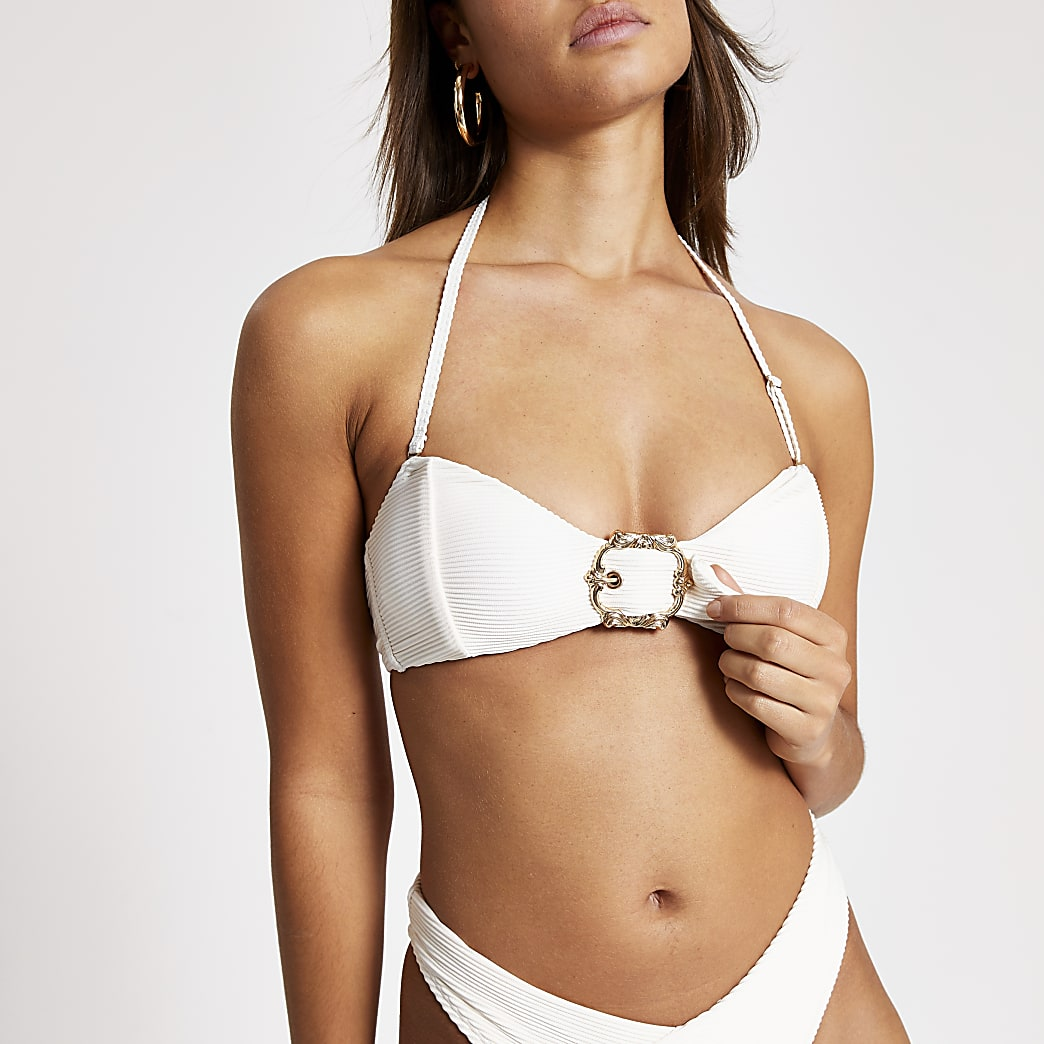 Cream bandeau buckle ribbed bikini top