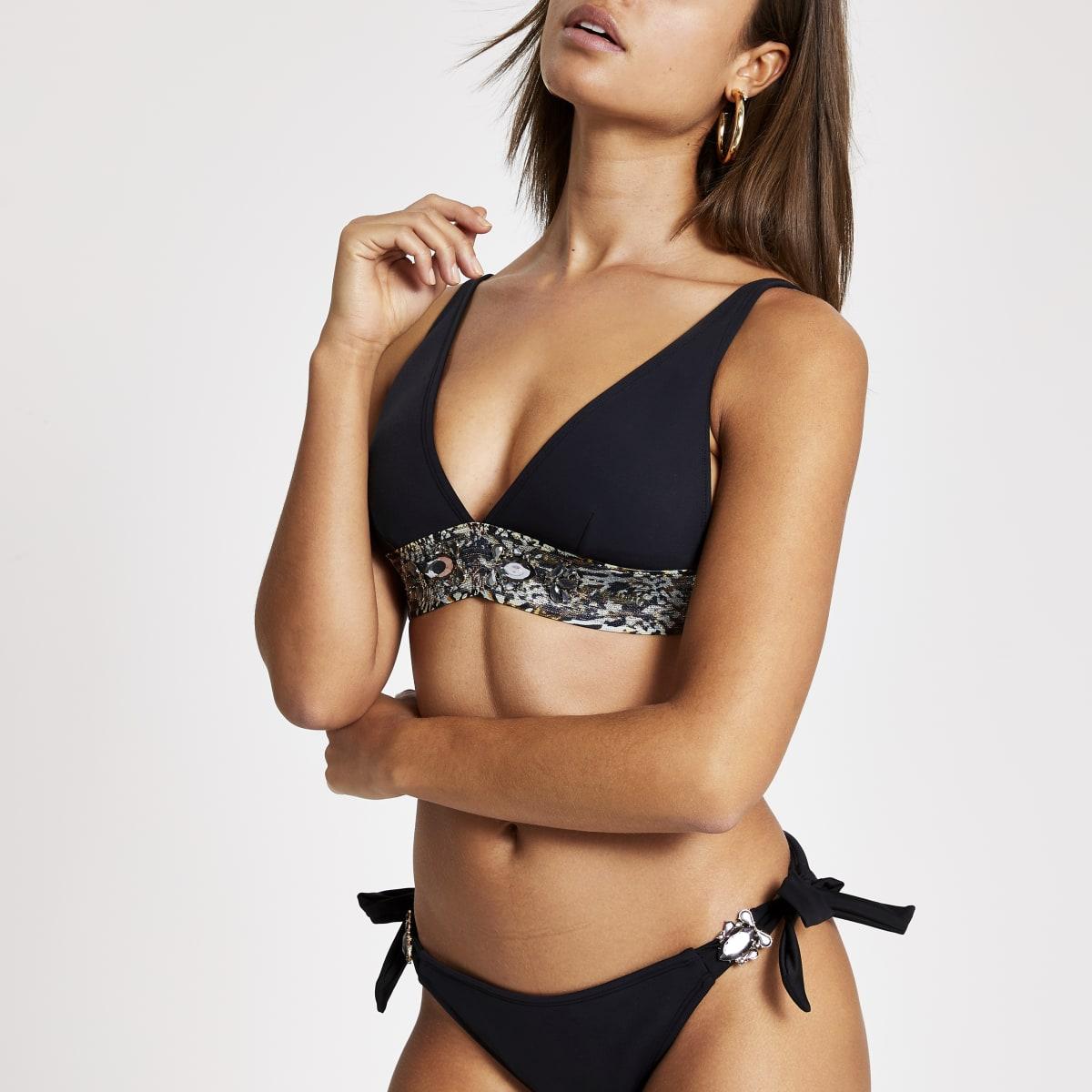 Black embellished triangle bikini top