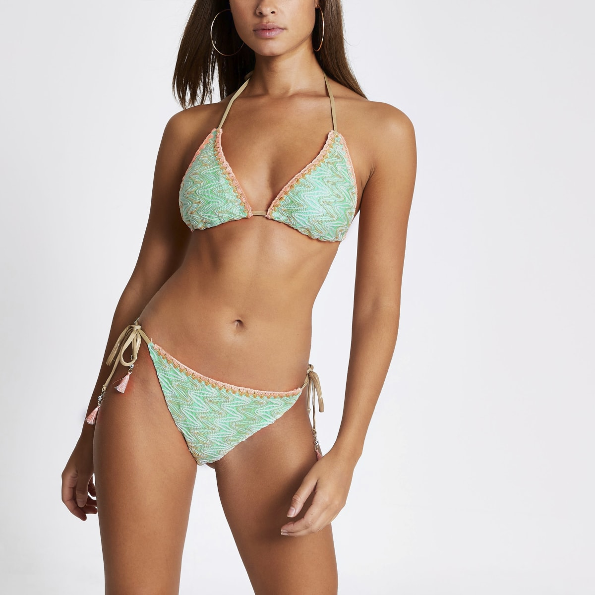 Green embroidered tie side bikini bottoms