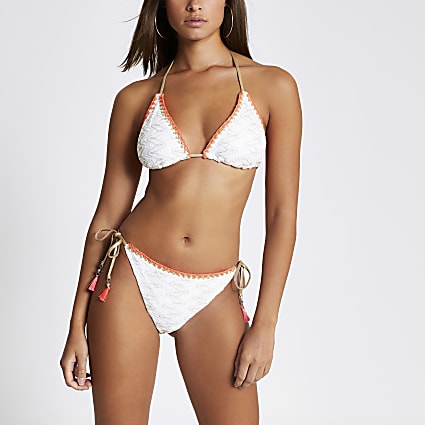 White embroidered tie side bikini bottoms