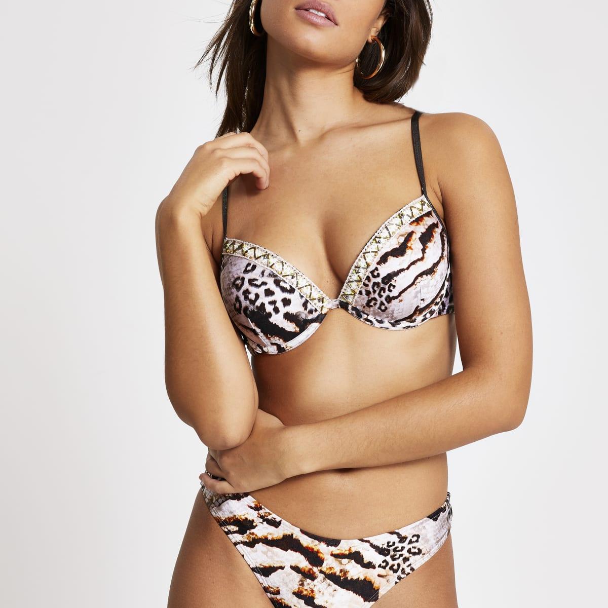 Brown snake print plunge bikini top