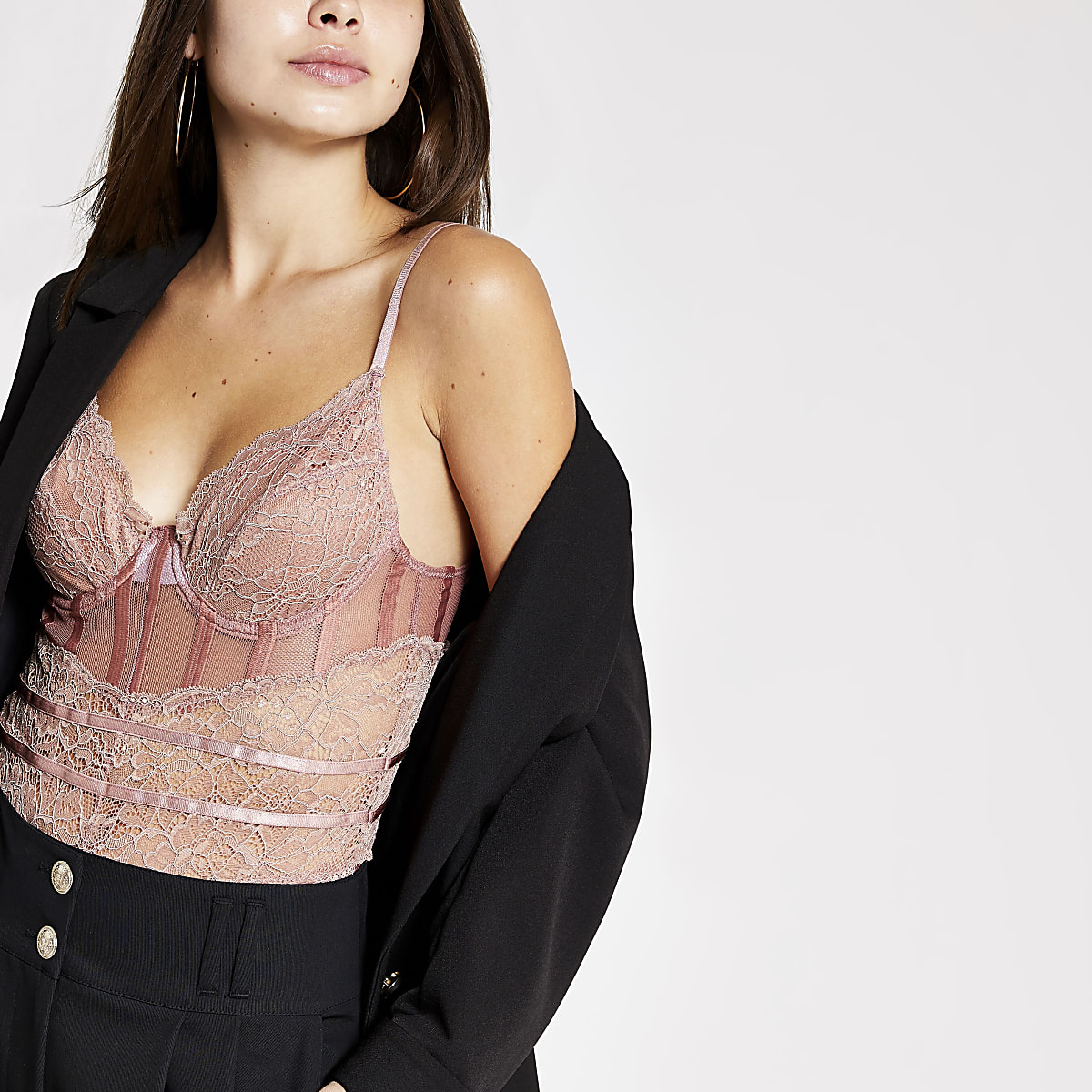 Light pink lace corset bodysuit top