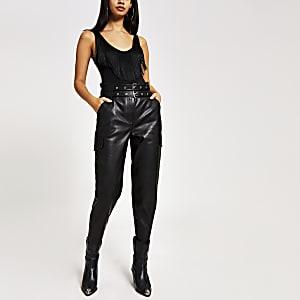 Black fringe V neck sleeveless bodysuit top