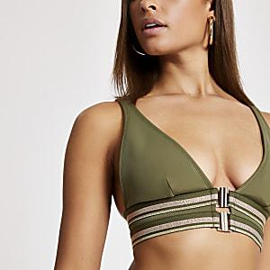Triangel-Bikinioberteil in Khaki mit Vorderverschluss
