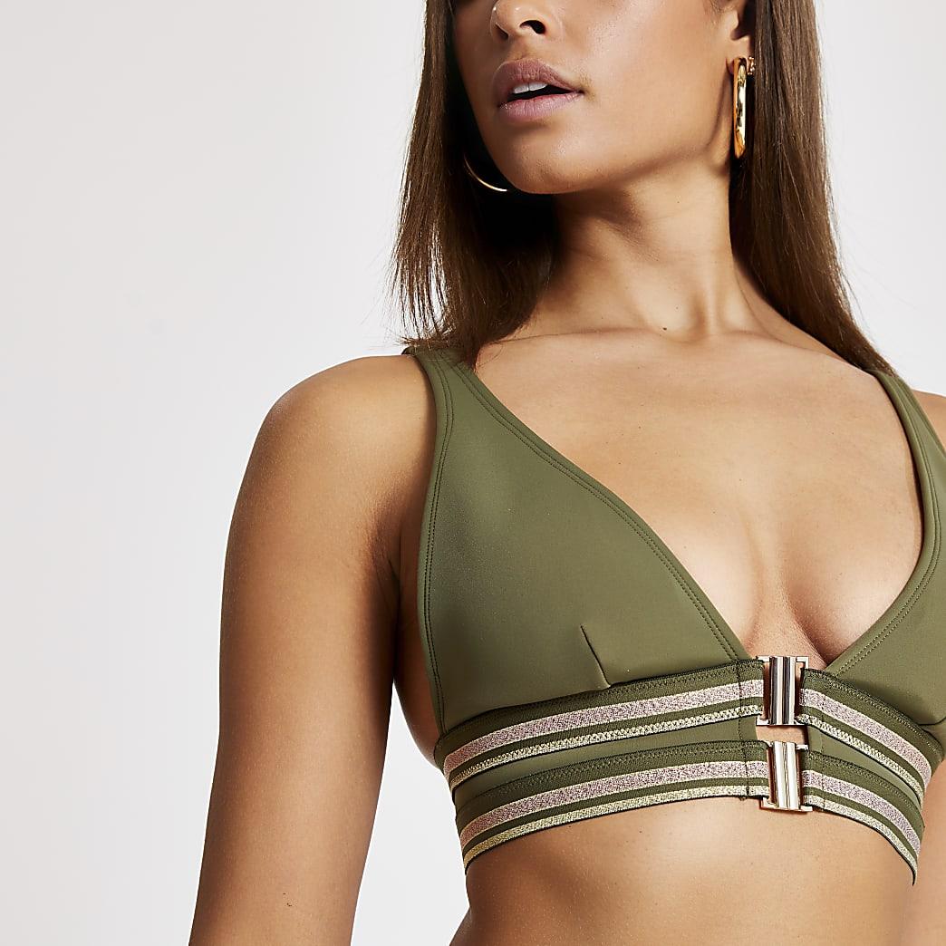 Khaki clip front triangle bikini top