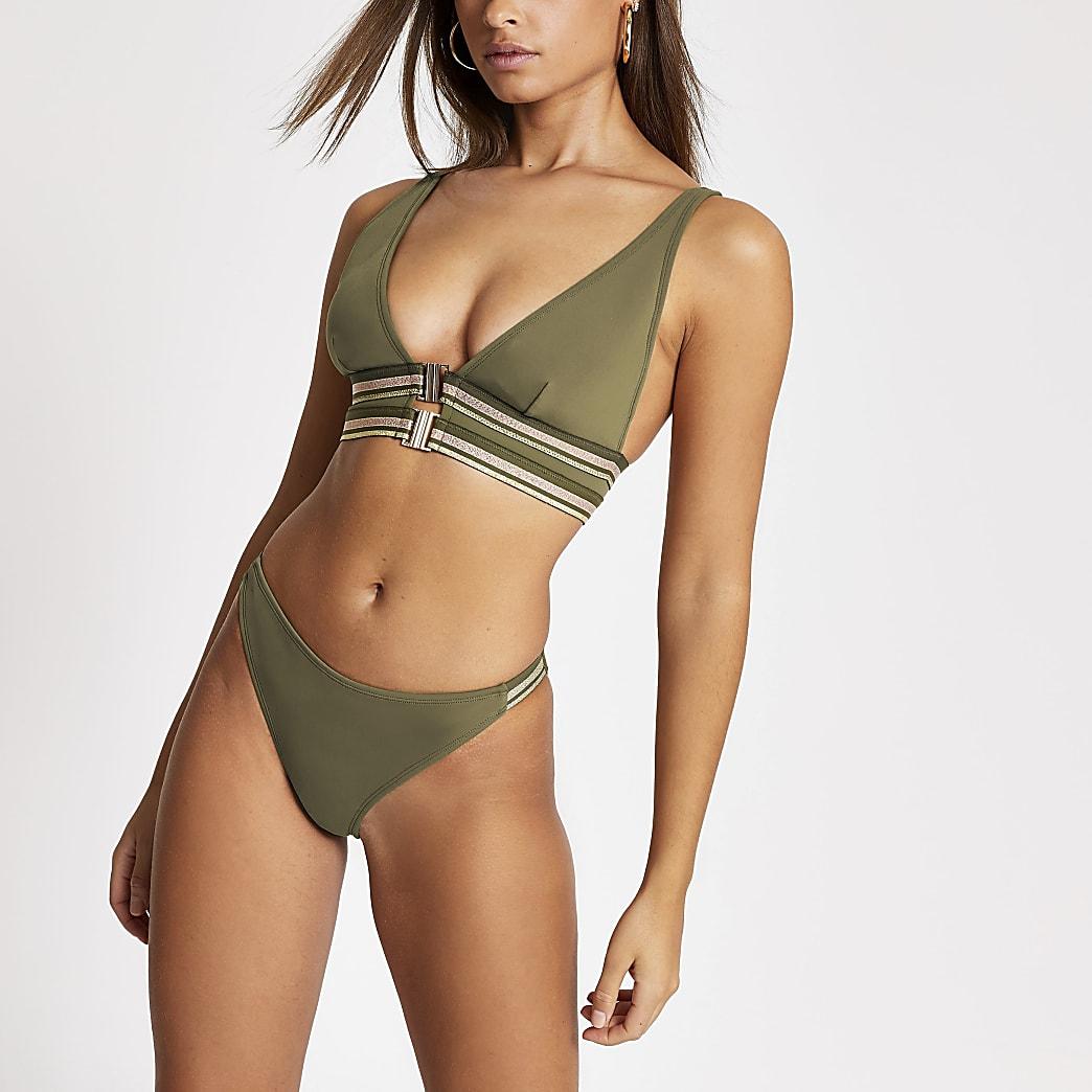 Kaki hoogopgesneden bikinibroekje met metallic bies