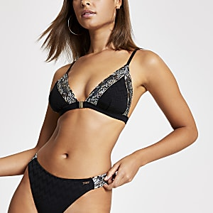 Haut de bikini triangle noirà chevrons