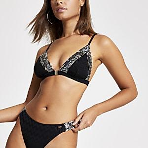 Zwarte triangel-bikinitop met zigzagprint en bies