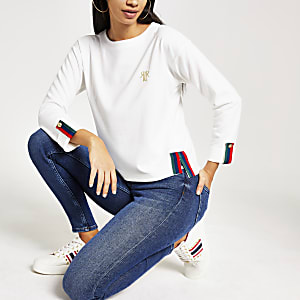 White long sleeve contrast tape top