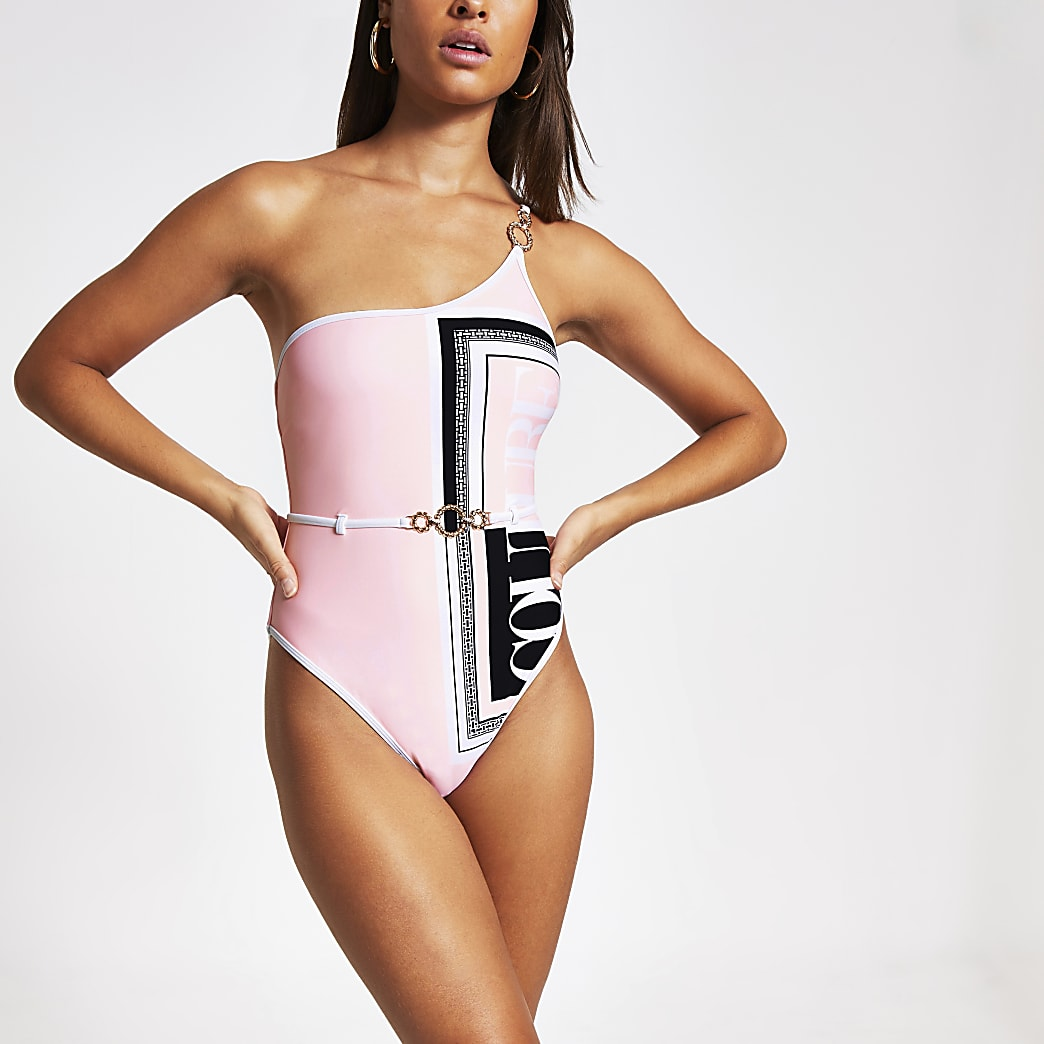 Pink printed one shoulder swimsuit