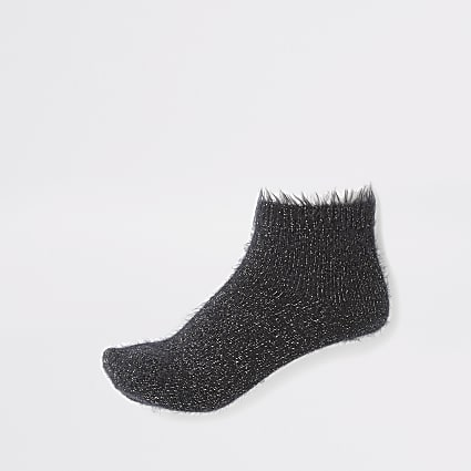 Black glitter fluffy ankle socks