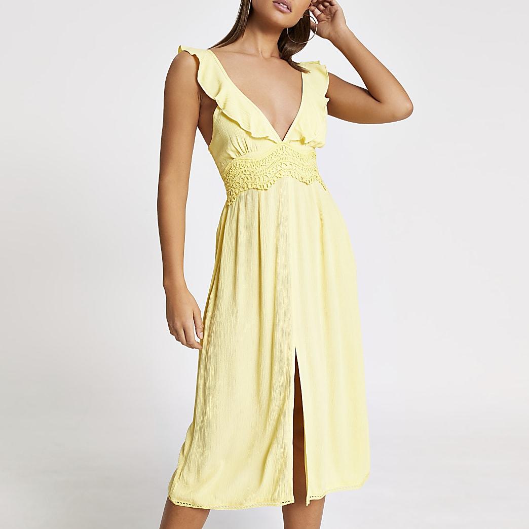 Yellow lace frill plunge midi beach dress