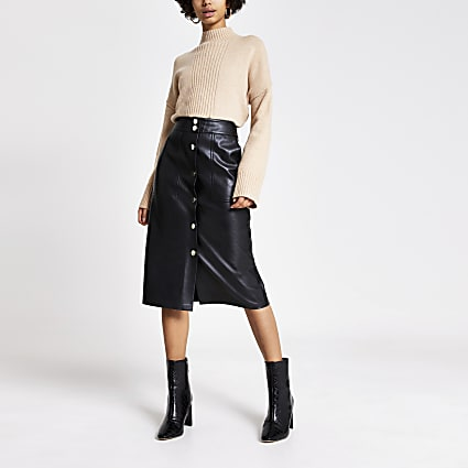 Black faux leather button front midi skirt
