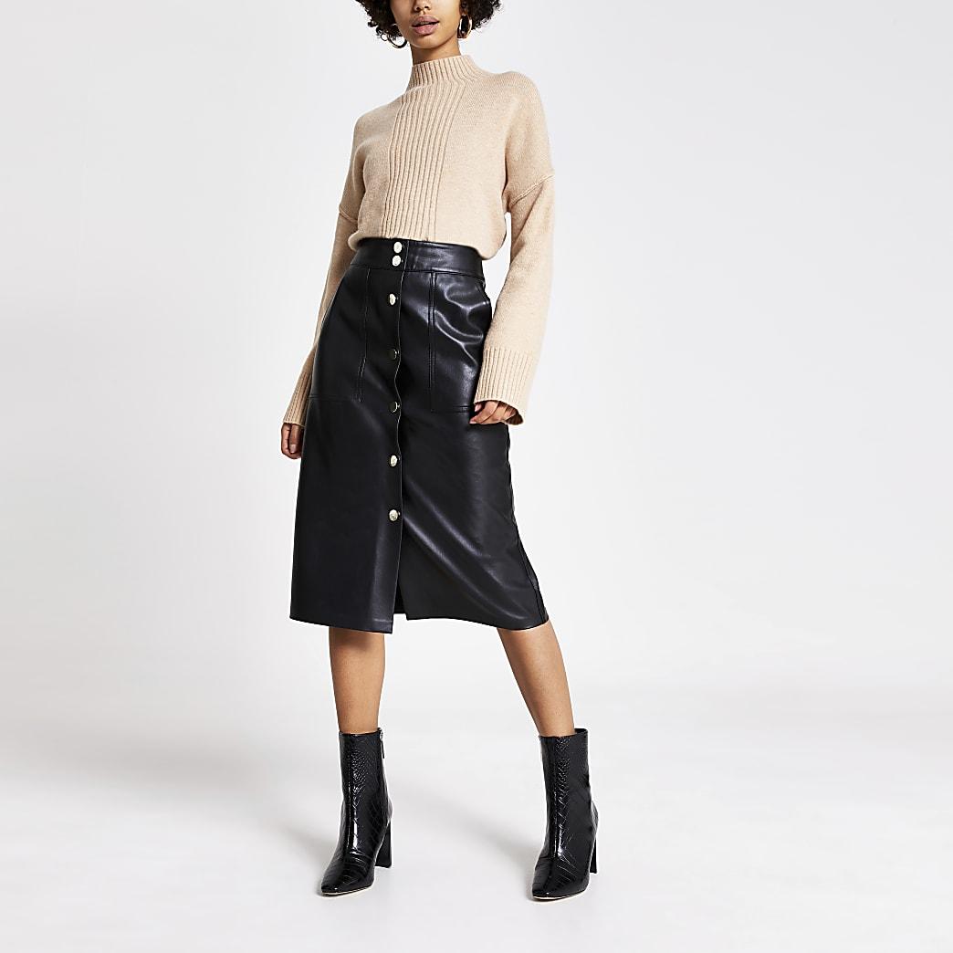 Black faux leather button front midi skirt