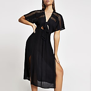 Schwarzes Midi-Strandkleid im Kimono-Stil