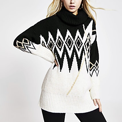 Cream printed roll neck oversized jumper
