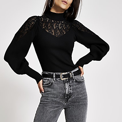Black long sleeve high lace neck top