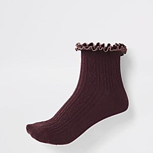 Chaussettes en maille torsadée rouge foncé à volant