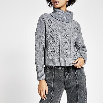 Dark grey embellished crop knitted jumper