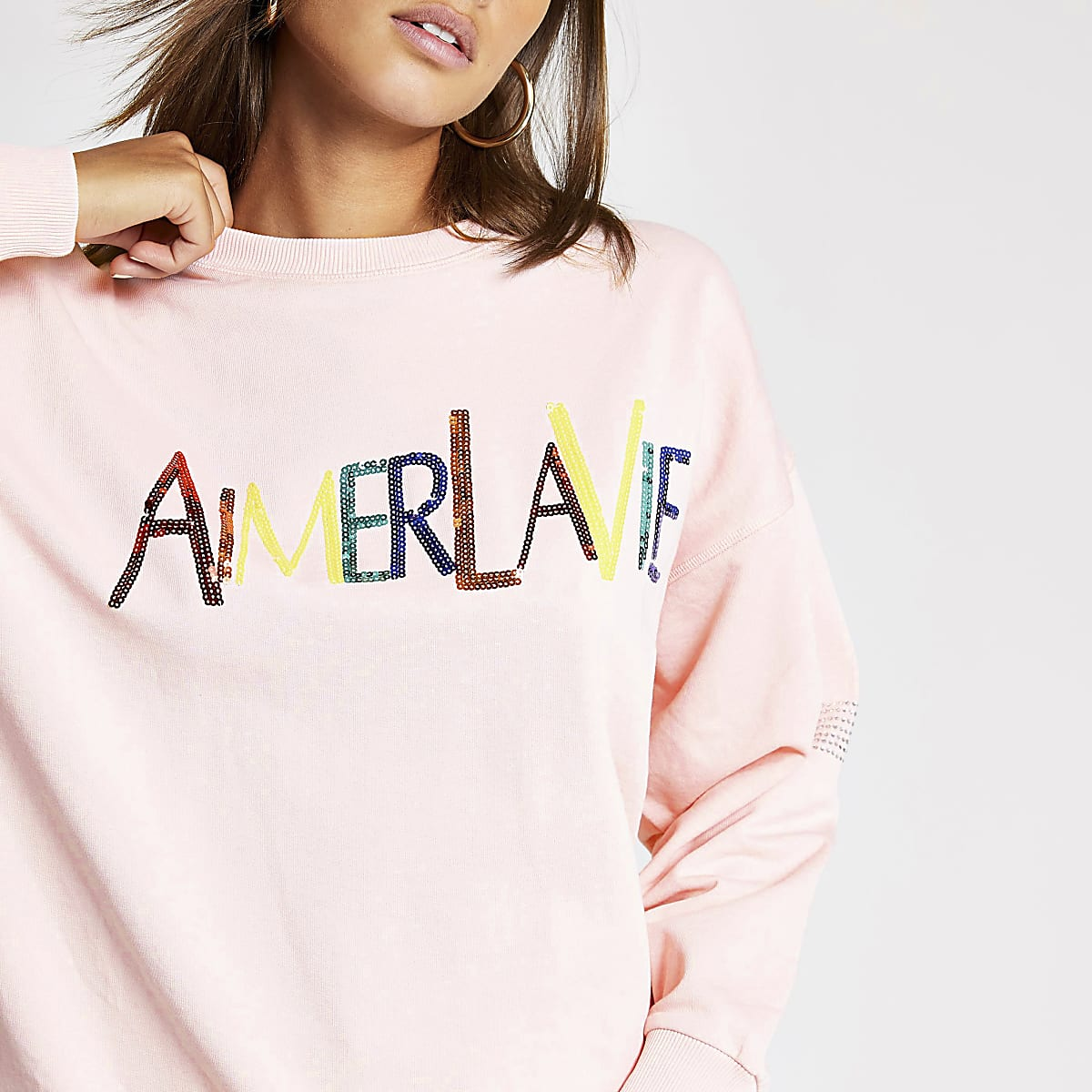 Pink sequin slogan embellished sweatshirt