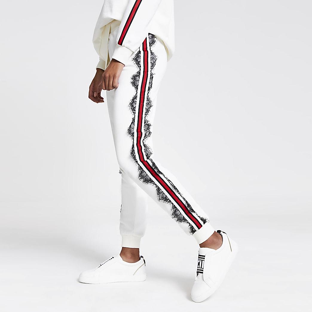 Pantalon de jogging blanc bandes latérales et dentelle