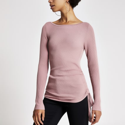Pink ruched side ribbed long sleeve top