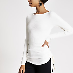 Cream ruched side ribbed long sleeve top