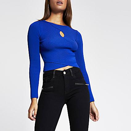 Blue wrap keyhole cropped rib jumper
