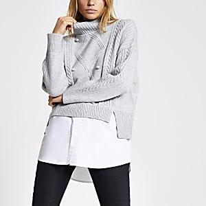 Pull-chemise gris en maille torsadée