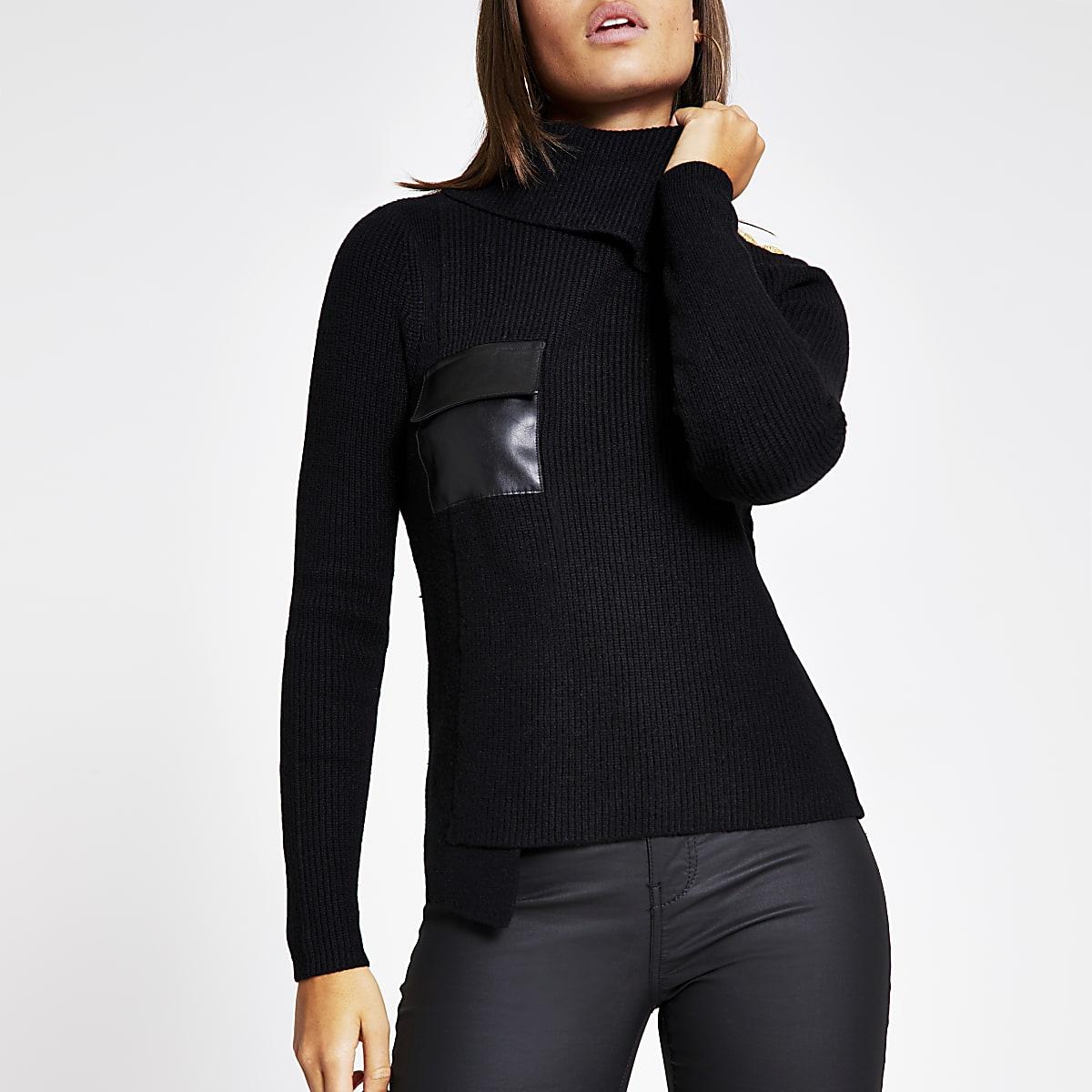 Black faux leather pocket knit jumper