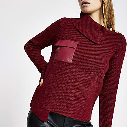 Dark red faux leather pocket knit jumper