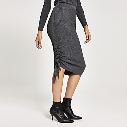 Grey ruched rib knitted midi skirt