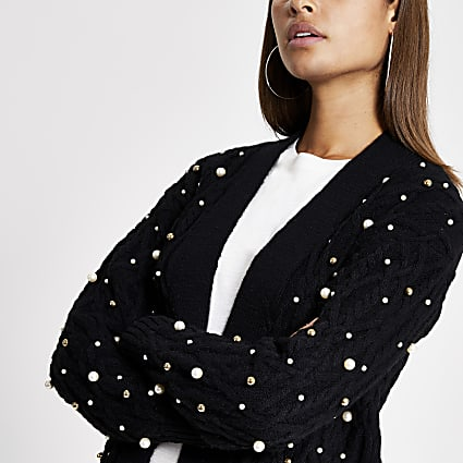 Black pearl embellished cable knit cardigan