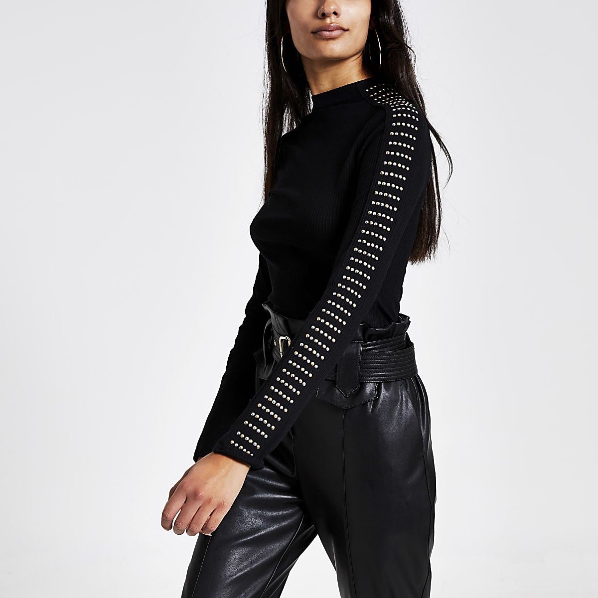 Black studded high neck ribbed T-shirt