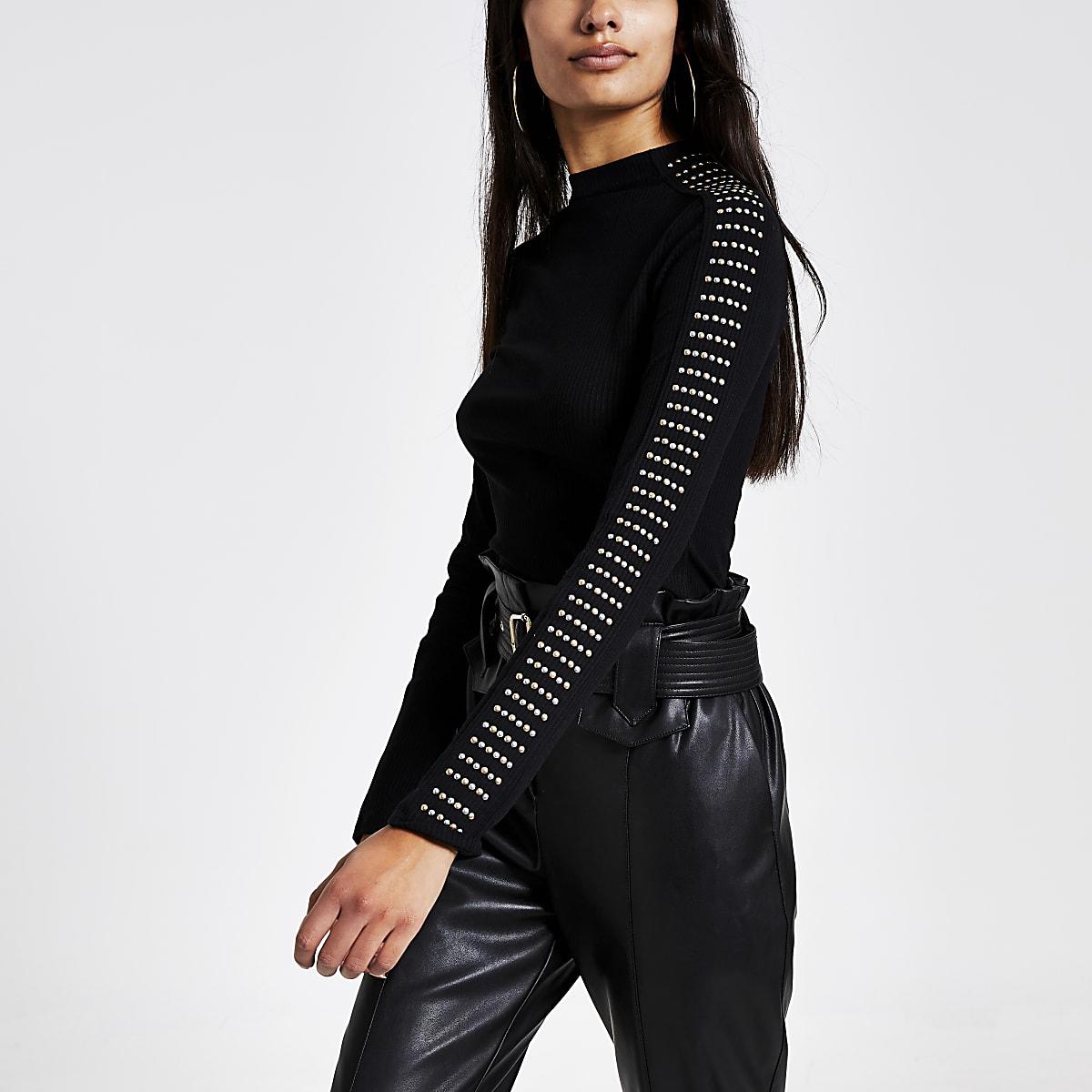 Zwart hoogsluitend geribbeld T-shirt met studs