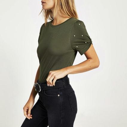 Khaki embellished knot sleeve fitted T-shirt