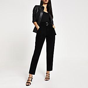 Jeansà taille haute ceinturée en velours côtelé noir