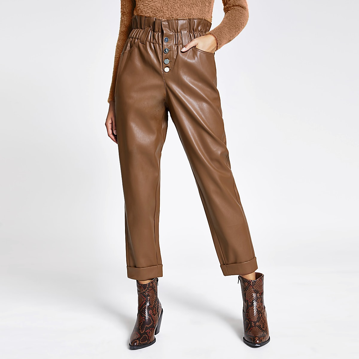 Beige faux leather paperbag button trousers