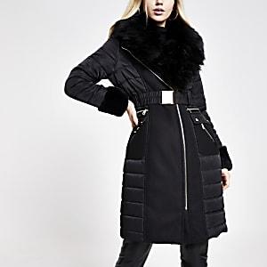 Schwarze, gefütterte Longline-Jacke mit Gürtel