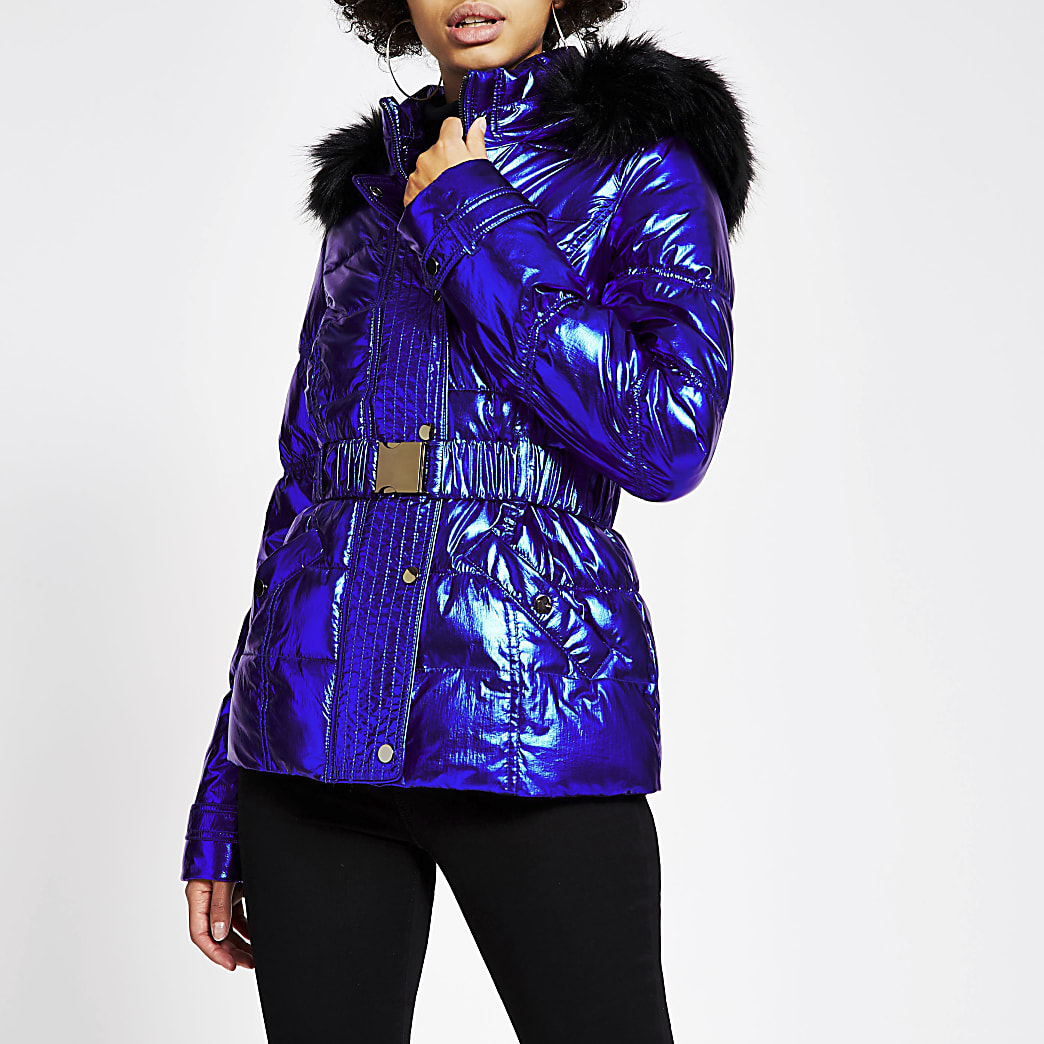 Blue metallic belted padded jacket