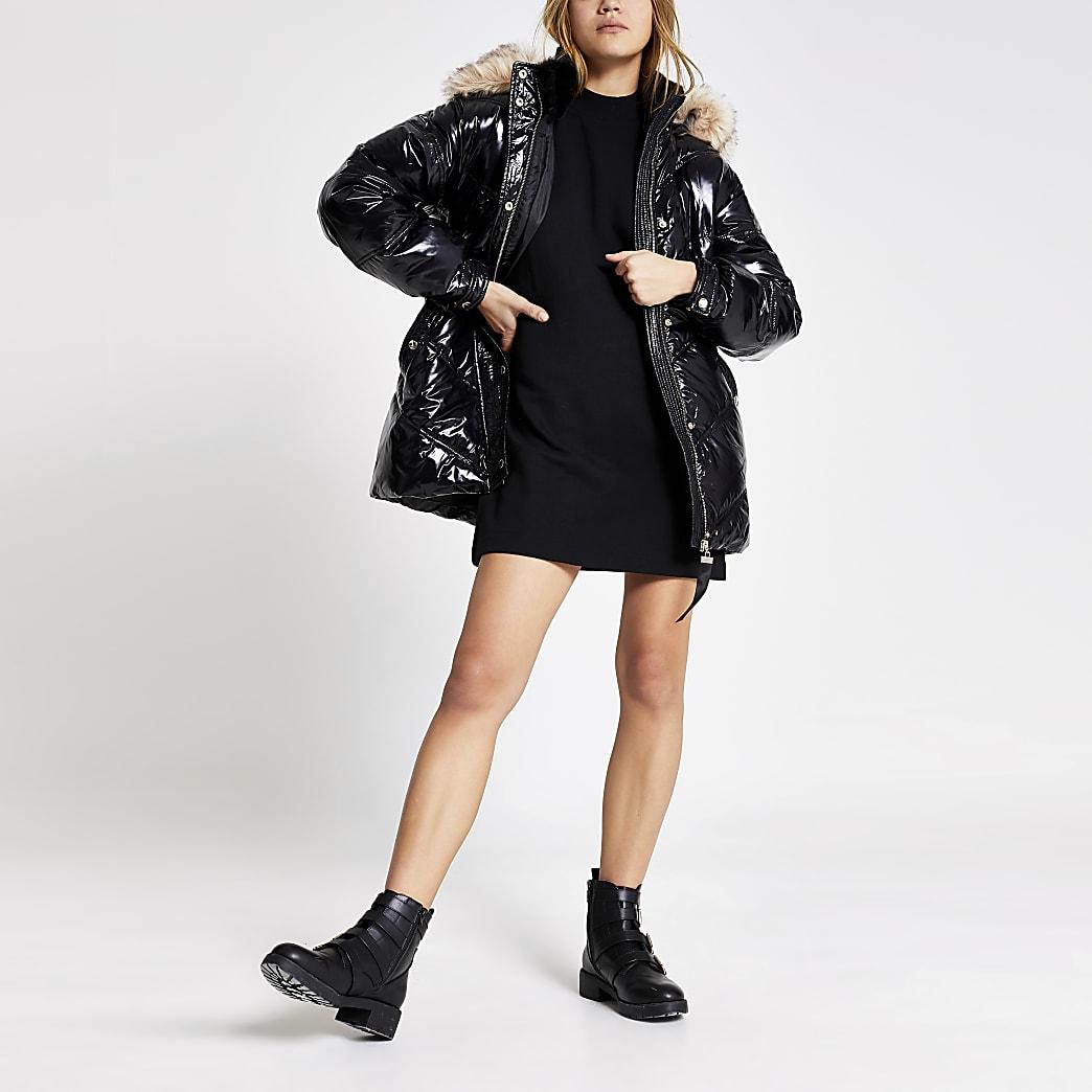 Black high shine belted padded coat