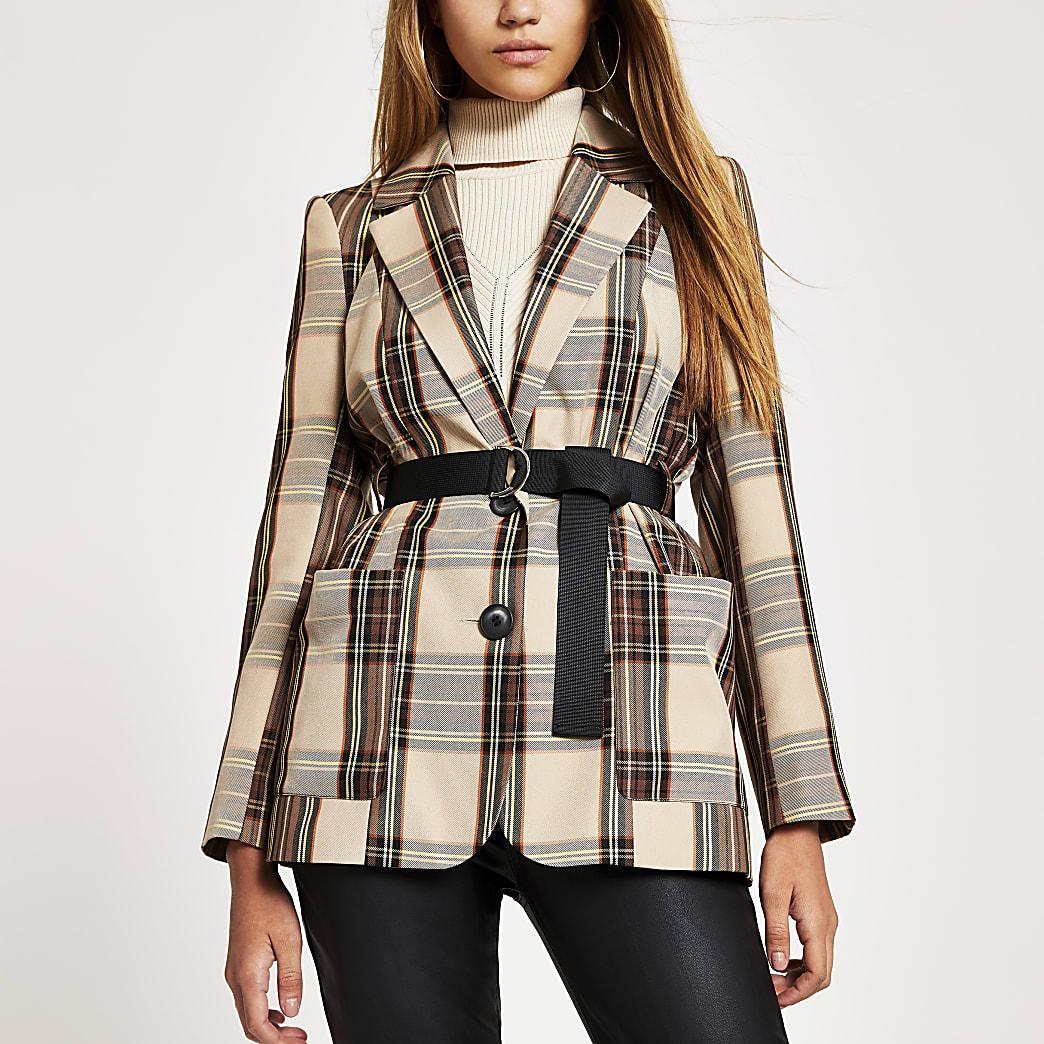 Brown check longline belted blazer