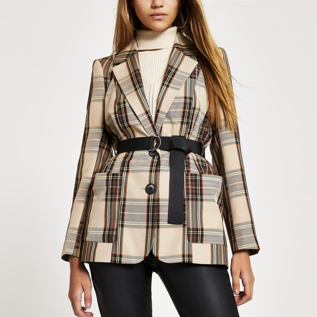 Brown check longline belted blazer