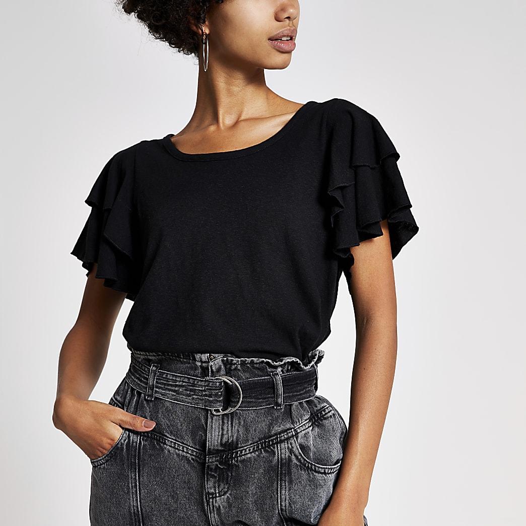 Black double frill sleeve T-shirt