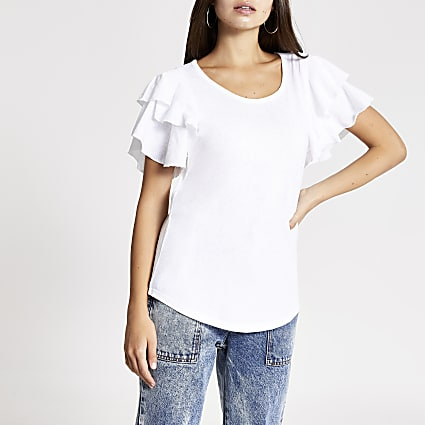 White double frill sleeve T-shirt