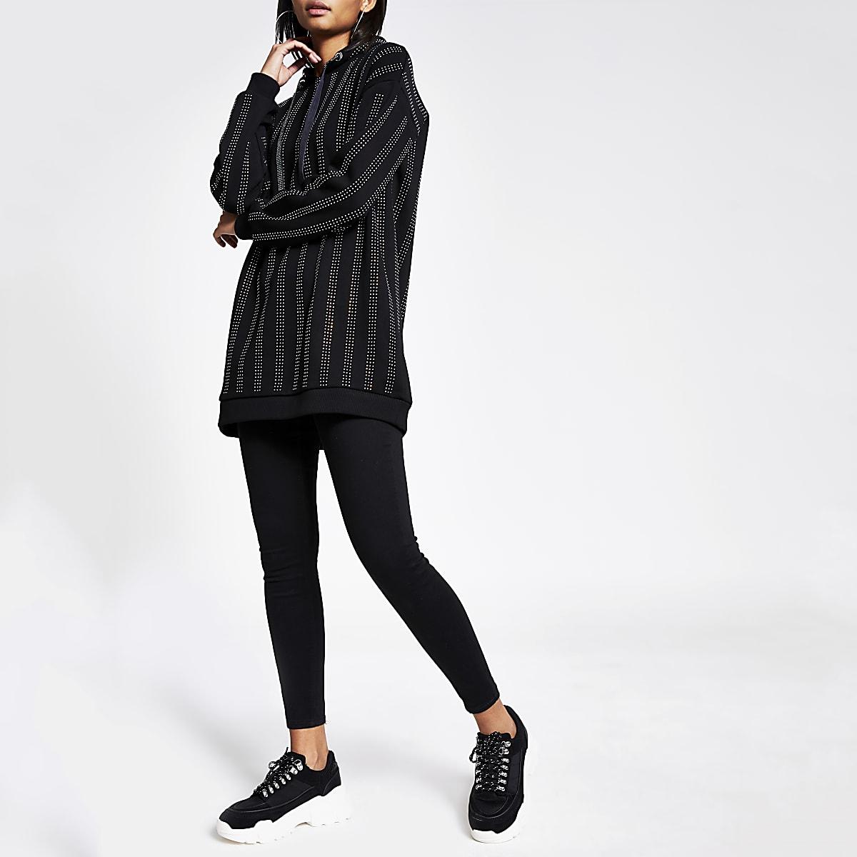 Zwarte lange hoodie met streep van siersteentjes