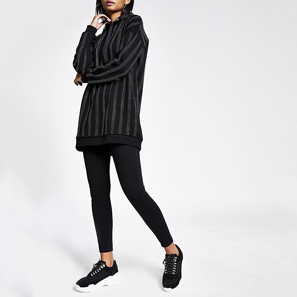 Schwarzer, lang geschnittener Hoodie mit Streifen aus Strasssteinchen
