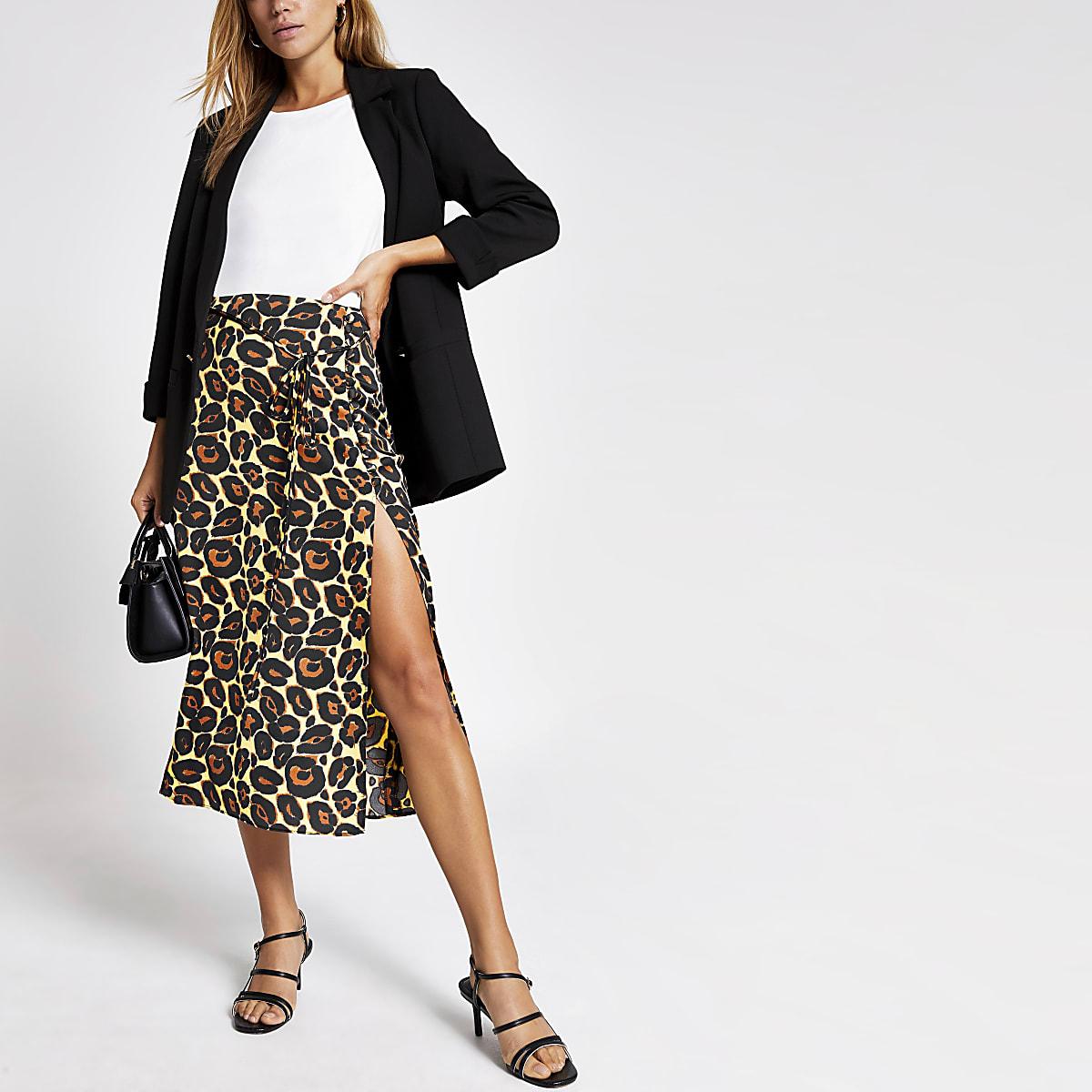 Beige leopard print thigh split midi skirt