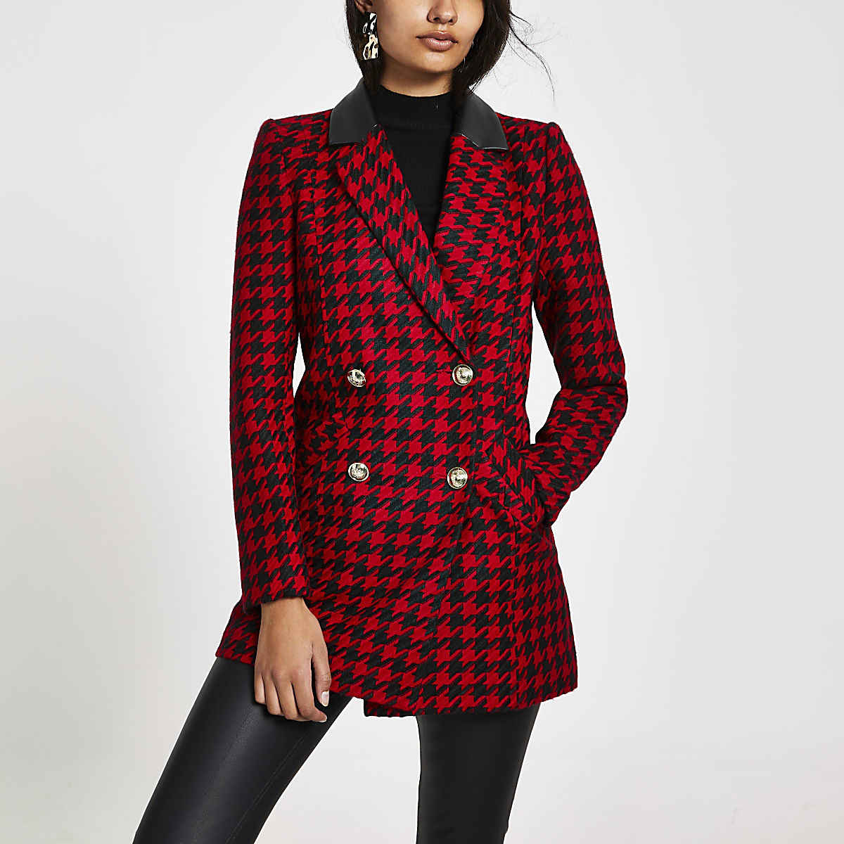 Rode double-breasted jas met pied-de-poule-print