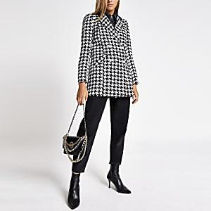 Doppelreihige Jacke mit aufgedrucktem Hahnentritt-Muster in Schwarz